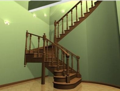 Лестница с опорными столбами